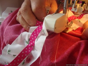sewing the ruffle trim