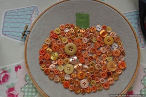 Button pumpkin embroidery hoop craft