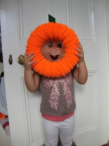 Pumpkin wreath using handwarmers