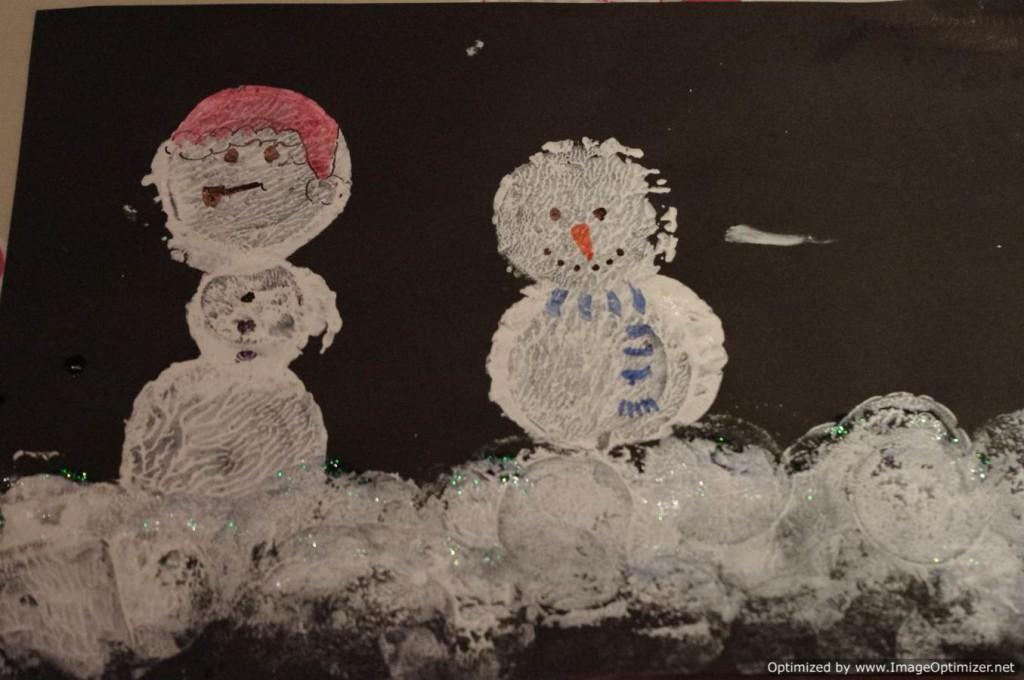 snowman print cards