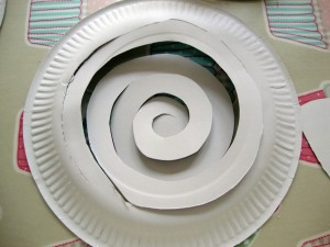 cut a spiral into the centre of your plate