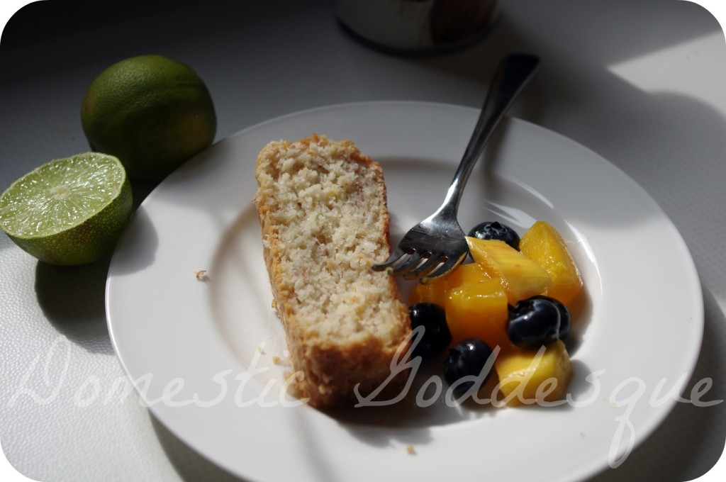 coconut and banana bread with fruit on the side