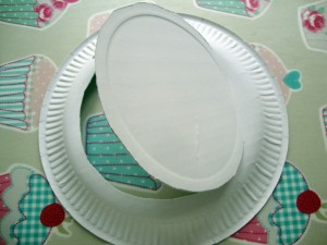 carefully cut centre of plate