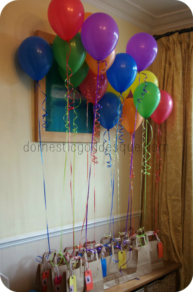 rainbow balloon party bags