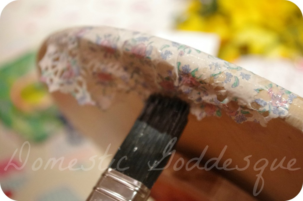 Mod Podge the doilies onto the Lazy Susan