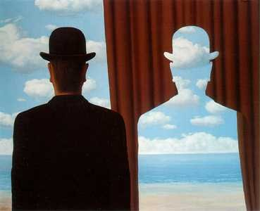 Magritte man with bowler hat