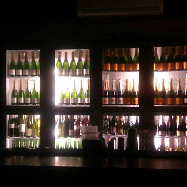 a wall of champagne
