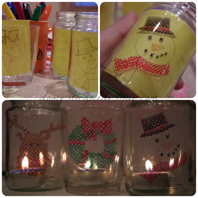 cross stitch sharpie jar lanterns