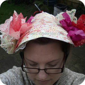 easter bonnet from a paper plate