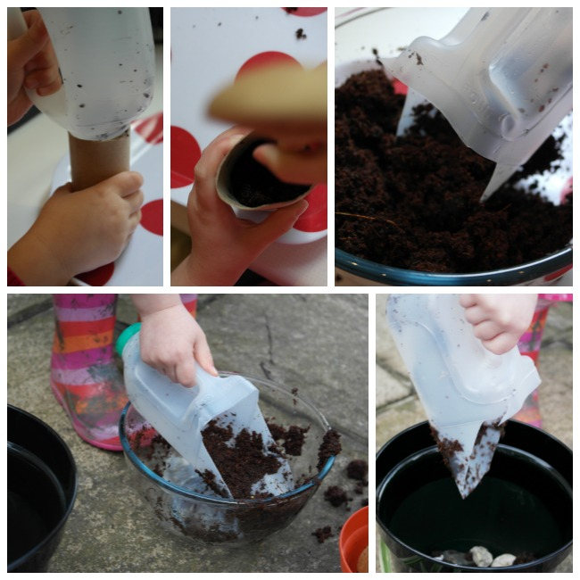 Earth Day activity: toilet roll planters, milk jug Earth scoops and planting sunflower seeds