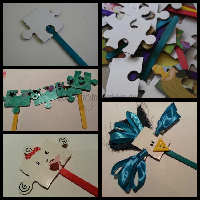 puzzle piece stick puppets