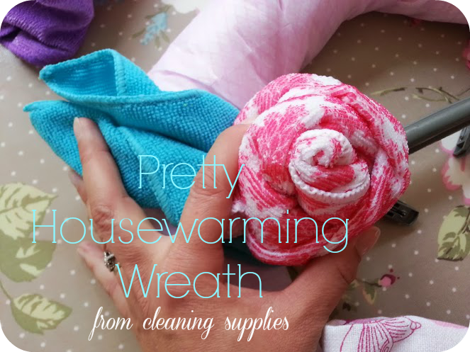 Creating a New Home Wreath from cleaning supplies
