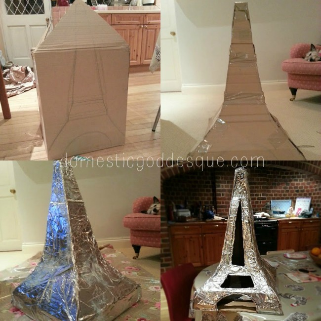 Make an Eiffel Tower from a cardboard box