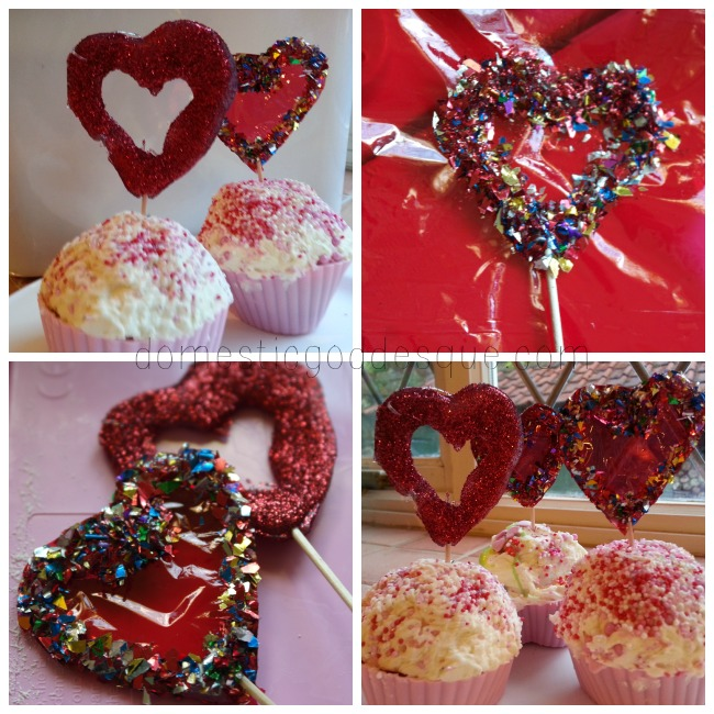heart glitter glue cake toppers