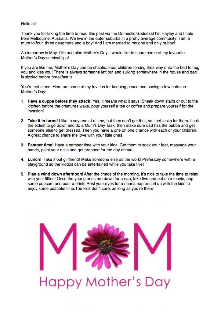 Mother's Day Survival Tips from Middle Class Mamas