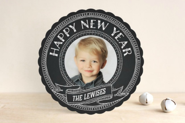 Minted  Round Chalkboard New Year Card