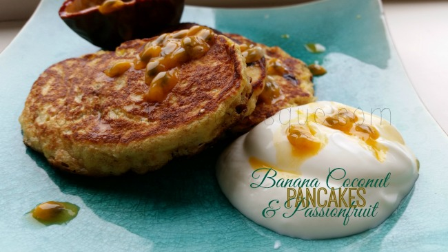 Banana Passionfruit and Coconut Pancakes
