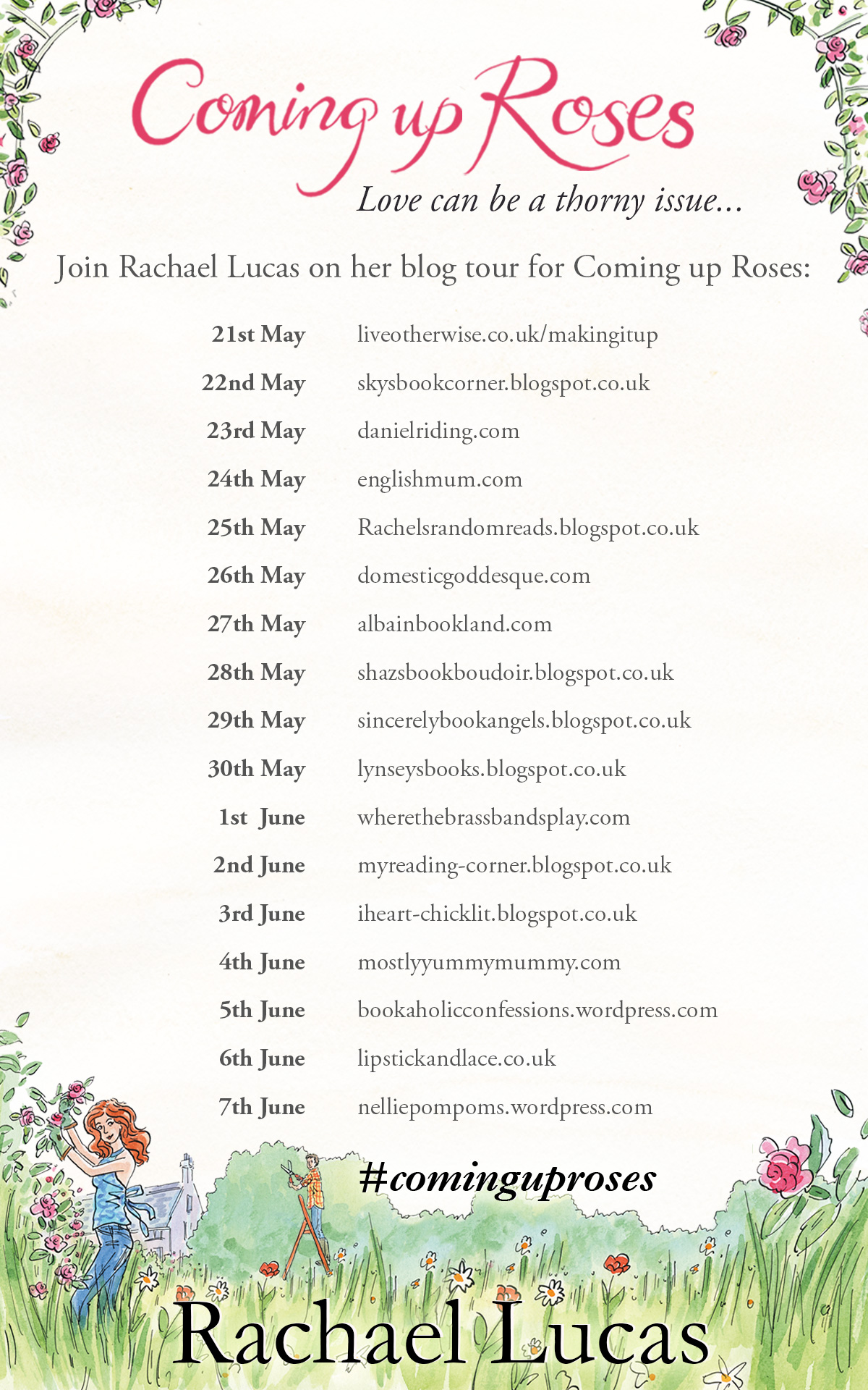 Coming Up Roses blog tour banner